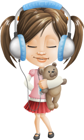 Little Girl Sleep Learning Chinese With Headphones Teddy Bear